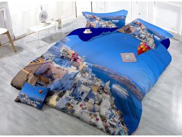 Cozy Coastal City Digital Print 4-Piece Cotton Duvet Cover Sets