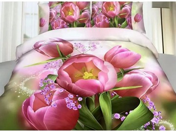 Tulip and Purple Flower Print 4-Piece Cotton Duvet Cover Sets
