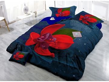 Amazing Red Flower Digital Print 4-Piece Cotton Duvet Cover Set