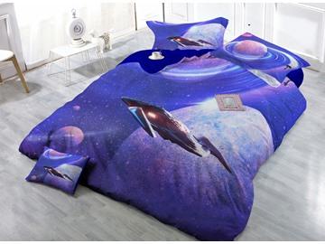 Interstellar Travel Digital Print 4-Piece Cotton Duvet Cover Set
