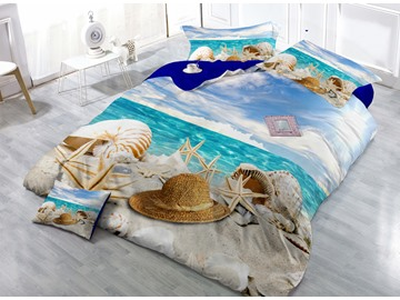 3D Beach Starfish Digital Print 4-Piece Cotton Bedding Sets/Duvet Covers