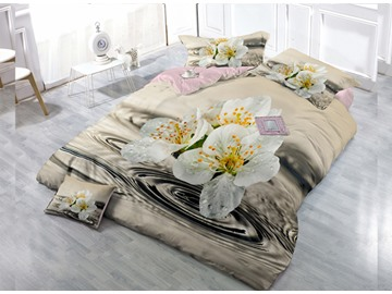 White Lily Digital Print 4-Piece Cotton Duvet Cover Set