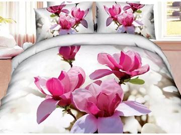 Brilliant Pink Magnolia Print 4-Piece Cotton Duvet Cover Sets