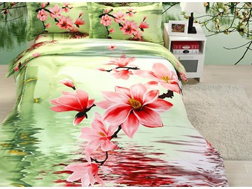 Pink Flower Print 4-Piece Polyester Duvet Cover Sets