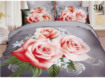 Wonderful Pink Rose Print 4-Piece Polyester Duvet Cover Sets