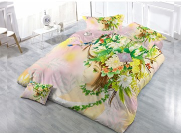 Flower Fairy 4-Piece High Density Satin Drill Duvet Cover Sets