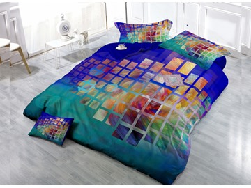 Magical  Grid-Shape  4-Piece High Density Satin Drill Duvet Cover Sets
