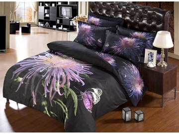 Light Purple Chrysanthemum Flower Print 6-Piece Duvet Cover Sets