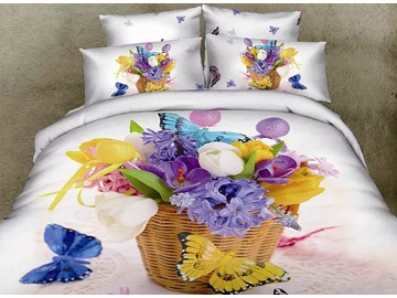 3D Various Flowers in Basket and Butterflies Printed Cotton 4-Piece White Bedding Sets