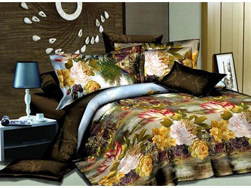 Fairy Flower Oil Painting 4-Piece Polyester Duvet Cover Sets