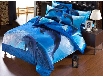 Adorable Jumping Dolphin Blue Ocean 5-Piece Comforter Sets