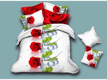 Romantic Rose 4-Piece White Duvet Cover Sets