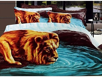3D Lion Drinking Water Printed Cotton 4-Piece Bedding Sets/Duvet Covers