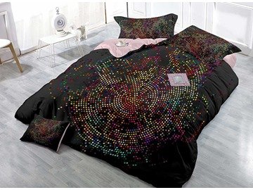 Small Polka Dots Satin Drill Black 4-Piece Duvet Cover Sets