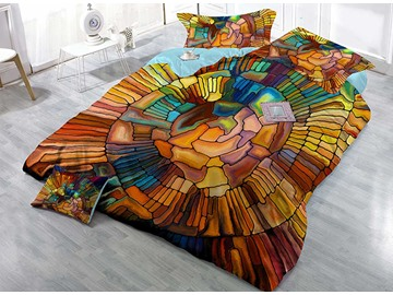 Faddish Abstract Design Satin Drill 4-Piece Duvet Cover Sets