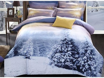 White Snow and Shining Sun Print 4-Piece Duvet Cover Sets