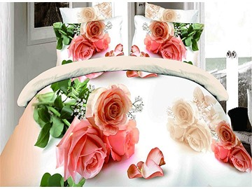 Pink Roses and Petals Print 4-Piece Duvet Cover Sets