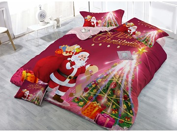 Santa Claus Carrying Gifts & Christmas Tree Print 4-Piece Christmas Duvet Cover Sets