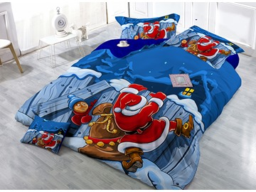 Santa Claus Print Satin Drill 4-Piece Blue Duvet Cover Sets