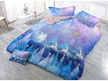 Running Reindeer Trees Print Merry Christmas 4-Piece Duvet Cover Sets