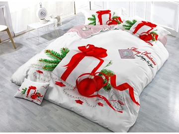 Christmas Gift Print Satin Drill 4-Piece White Christmas Duvet Cover Sets