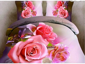 New Arrival Vivid Pink Flower Print 4-Piece Duvet Cover Sets