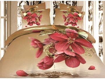 3D Dewy Red Flowers Printed Cotton 4-Piece Light Brown Bedding Sets