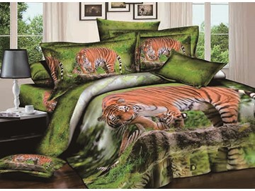 Wandering Tiger Print Cotton 4-Piece Green Duvet Cover Sets