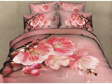 Pink Peach Blossom Print Cotton 4-Piece Duvet Cover Sets
