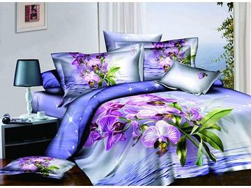 Shining Purple Flowers Blue 4-Piece Cotton Duvet Cover Sets
