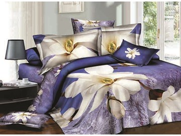Elegant White Flowers Print Blue 4-Piece Cotton Duvet Cover Sets