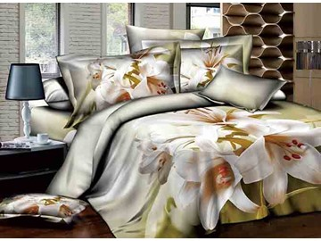 3D White Lily Printed Pastoral Style Cotton 4-Piece Bedding Sets/Duvet Covers