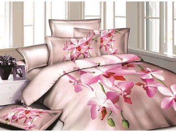 Pastel Pink Flowers Reactive Printing Cotton 4-Piece Duvet Cover Sets