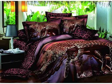 3D Leopard on the Tree Printed Cotton 4-Piece Bedding Sets/Duvet Covers