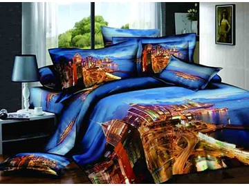 Charming City Scenery Design Blue Background 4-Piece Cotton Duvet Cover Sets