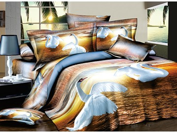 3D Fluttering White Swans Printed Cotton 4-Piece Bedding Sets/Duvet Covers