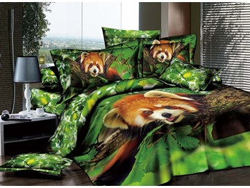 3D Raccoon on the Tree Printed Cotton 4-Piece Bedding Sets/Duvet Covers