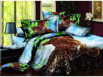 3D Crouching Leopard in Jungle Printed Cotton 4-Piece Bedding Sets/Duvet Covers