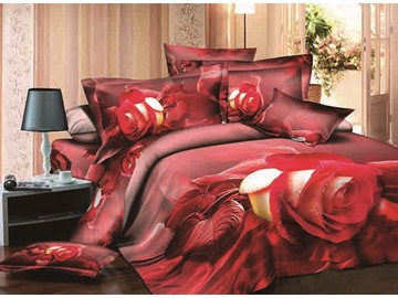 Vivid Rose Reactive Printing Cotton 4-Piece Duvet Cover Sets