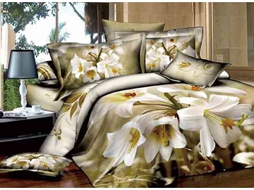 3D White Lily Printed Cotton 4-Piece Bedding Sets/Duvet Covers