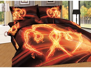 Pure Cotton Burning Heart Print 4-Piece Duvet Cover Sets