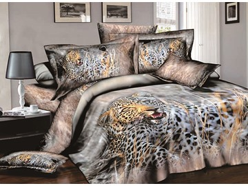 Brawny Leopard Crouching in Grass Print 4-Piece Cotton Duvet Cover Sets