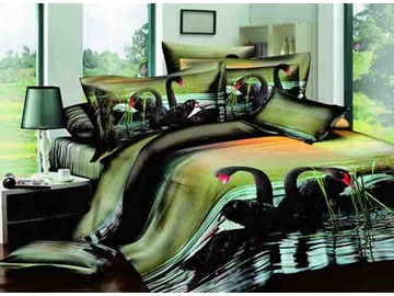 3D Black Swans on Lake Printed Cotton 4-Piece Bedding Sets/Duvet Covers