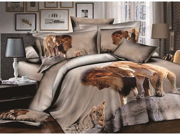 3D Lion and Cub Printed Cotton 4-Piece Bedding Sets/Duvet Covers