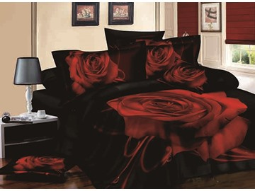 3D Red Blooming Rose Print Black 4-Piece Cotton Duvet Cover Sets
