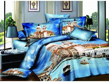 Venice St. Mark's Square Scenery Print Blue 4-Piece Cotton Duvet Cover Sets