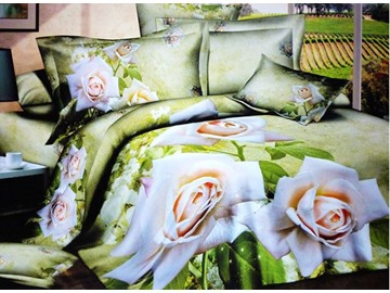 Pastoral White Flowers Green Background 4-Piece Cotton Duvet Cover Sets