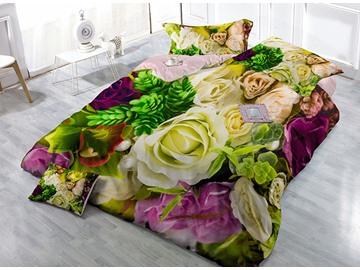 Pastoral Romantic Flowers Print Satin Drill 4-Piece Duvet Cover Sets