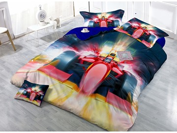 Fashion Unique Car Print Luxury Satin Drill 4-Piece Duvet Cover Sets
