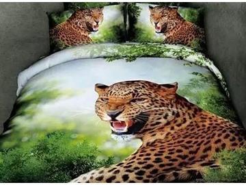 Howling Leopard Print Cotton Green 4-Piece Duvet Cover Sets